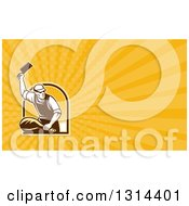 Clipart Of A Retro Male Butcher Chopping Leg Meat And Yellow Rays Background Or Business Card Design Royalty Free Illustration