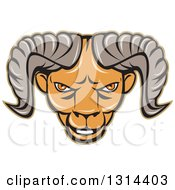 Clipart Of A Cartoon Tough Ram Head Royalty Free Vector Illustration