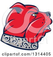 Clipart Of A Cartoon Red Bulldog Head In Profile Facing Right Royalty Free Vector Illustration