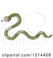 Clipart Of A Cartoon Green Snake Facing Left Royalty Free Vector Illustration by patrimonio