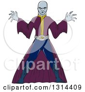 Clipart Of A Cartoon Bald Sorcerer Casting A Spell Royalty Free Vector Illustration by patrimonio