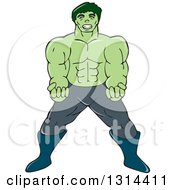 Clipart Of A Cartoon Angry Green Hulk Man Royalty Free Vector Illustration