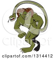 Clipart Of A Cartoon Humbaba Monster With A Mountain Goat Ram Body And Snake Tail Royalty Free Vector Illustration
