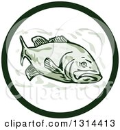 Clipart Of A Cartoon Largemouth Bass Fish In A Circle Royalty Free Vector Illustration by patrimonio