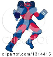 Clipart Of A Cartoon Mecha Robot Warrior Aiming A Gun Royalty Free Vector Illustration