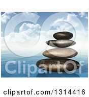 Clipart Of A Painted Style Stack Of Stones On The Ocean Royalty Free Vector Illustration