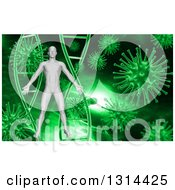 Clipart Of A 3d Medical Anatomical Male Over A Green Dna And Virus Background Royalty Free Illustration