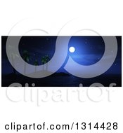 Clipart Of A Full Moon In The Night Sy Over A Tropical Palm Tree Island Royalty Free Illustration
