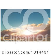 Clipart Of A 3d Sunset Sky With Puffy Clouds Royalty Free Illustration