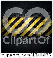 Clipart Of A 3d Hazard Stripes Plaque On Dark Perforated Metal Royalty Free Illustration