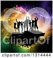 Clipart Of A Team Of Black Silhouetted Dancers On Grunge Overcolorful Swirly Flares Lights And Stars Royalty Free Vector Illustration