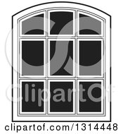 Clipart Of A Rounded Top Black And White Window Frame Royalty Free Vector Illustration by Lal Perera