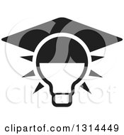 Clipart Of A Black And White Shining Light Bulb With A Graduation Cap Royalty Free Vector Illustration by Lal Perera