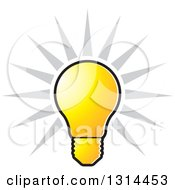 Clipart Of A Shining Bright Yellow Light Bulb And Gray Rays Royalty Free Vector Illustration