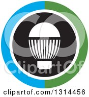 Clipart Of A White LED Light Bulb In A Round Black Green White And Blue Icon Royalty Free Vector Illustration