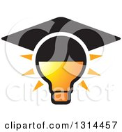 Clipart Of A Shining Yellow Light Bulb With A Graduation Cap Royalty Free Vector Illustration