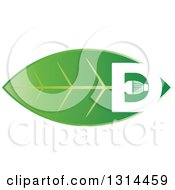 Clipart Of A White LED And Letter D Light Bulb On A Green Leaf Royalty Free Vector Illustration