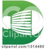 Clipart Of A White LED Light Bulb In A Green Letter D Royalty Free Vector Illustration