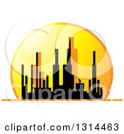 Clipart Of A Silhouetted City Skyline Of Highrises Against An Orange Sunset Royalty Free Vector Illustration