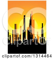 Clipart Of A Silhouetted City Skyline At Sunset Royalty Free Vector Illustration