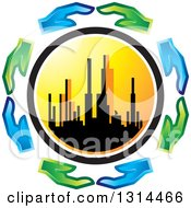 Clipart Of A Circle Of Blue And Green Eco Hands Around A Silhouetted City Skyline At Sunset Royalty Free Vector Illustration