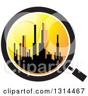 Clipart Of A Silhouetted City Skyline At Sunset In A Magnifying Glass Royalty Free Vector Illustration