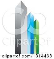 Clipart Of A 3d Silver Blue And Green Skyscraper Buildings Or Bar Graph Royalty Free Vector Illustration by Lal Perera