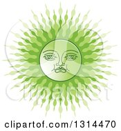 Clipart Of A Sinhalese New Year Green Sun Royalty Free Vector Illustration