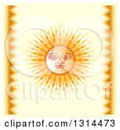 Clipart Of A Sinhalese New Year Sun Over Yellow Royalty Free Vector Illustration