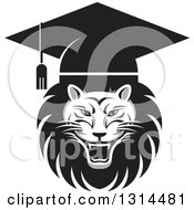 Clipart Of A Grayscale Roaring Male Lion Graduation Head Wearing A Cap Royalty Free Vector Illustration