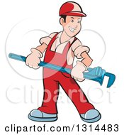 Clipart Of A Cartoon Happy White Male Plumber In Red Overalls Holding A Giant Monkey Wrench Royalty Free Vector Illustration by Lal Perera