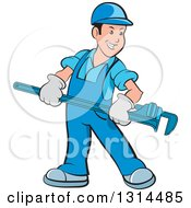 Clipart Of A Cartoon Happy White Male Plumber In Blue Overalls Holding A Giant Monkey Wrench Royalty Free Vector Illustration by Lal Perera