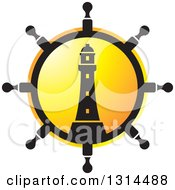 Clipart Of A Ship Steering Wheel Helm With A Lighthouse And Sunset Royalty Free Vector Illustration by Lal Perera