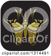 Clipart Of A Black And Gold Abstract Letter MW Butterfly Round Icon Royalty Free Vector Illustration by Lal Perera