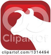 Clipart Of A White Silhouetted Bull Head Over A Red Square Icon Royalty Free Vector Illustration by Lal Perera