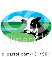 Clipart Of A Dairy Cow Head In An Oval Valley Landscape Icon Royalty Free Vector Illustration