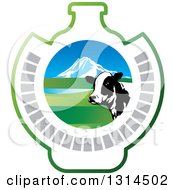 Clipart Of A Dairy Cow Head Over A Mountain And Open Range Pasture In A Bottle Shape Royalty Free Vector Illustration
