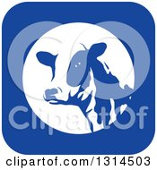 Clipart Of A Dairy Cow Head In A Blue And White Square Icon Royalty Free Vector Illustration by Lal Perera
