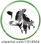 Clipart Of A Black And White Dairy Cow Head In A Green Round Circle Icon Royalty Free Vector Illustration