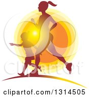 Clipart Of A Silhouetted Fith Mother Running With Her Daughter Against A Sunset Royalty Free Vector Illustration