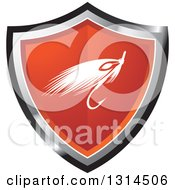 Clipart Of A Fishing Lure On A Red Black And Silver Shield Royalty Free Vector Illustration by Lal Perera