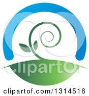 Clipart Of A Spiraling Vine Under A Blue Arch Royalty Free Vector Illustration