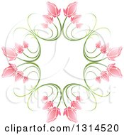 Clipart Of A Circle Of Green Stems And Pink Flowers 2 Royalty Free Vector Illustration