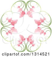 Clipart Of A Circle Of Green Stems And Pink Flowers Royalty Free Vector Illustration