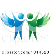 Clipart Of Cheering Green And Blue Angels Royalty Free Vector Illustration