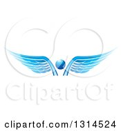 Clipart Of A Blue Abstract Angel Royalty Free Vector Illustration