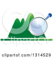Clipart Of A Magnifying Glass Over Green Mountains Royalty Free Vector Illustration