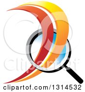Clipart Of A Magnifying Glass With Red And Orange Swooshes Royalty Free Vector Illustration