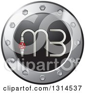 Clipart Of A Letter M 3 In A Round Silver And Black Icon With A Red Plumbing Valve Royalty Free Vector Illustration