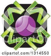 Clipart Of A Purple Circle With Green Letter M Over A Black Square Icon Royalty Free Vector Illustration